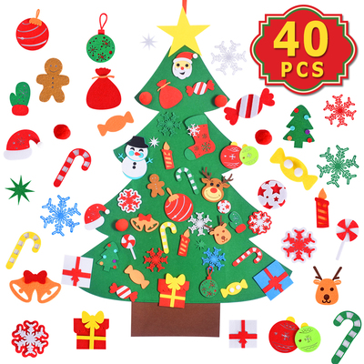 Max Fun DIY Felt Christmas Tree Set with 40PCS Ornaments Wall Hanging Felt Craft Kits for Kids Chris