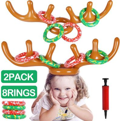 MGparty Christmas Inflatable Reindeer Antler Toss Game for Christmas Kids Teens Party Favors Supplie