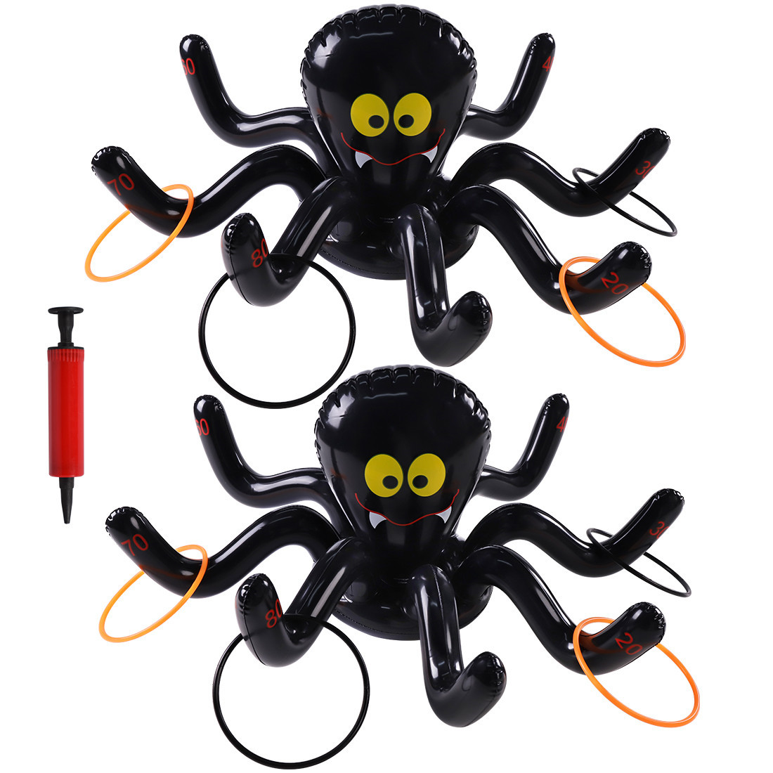 Max Fun Halloween Inflatable Spiders Ring Toss Game Set 2Pack Outdoor Indoor Games