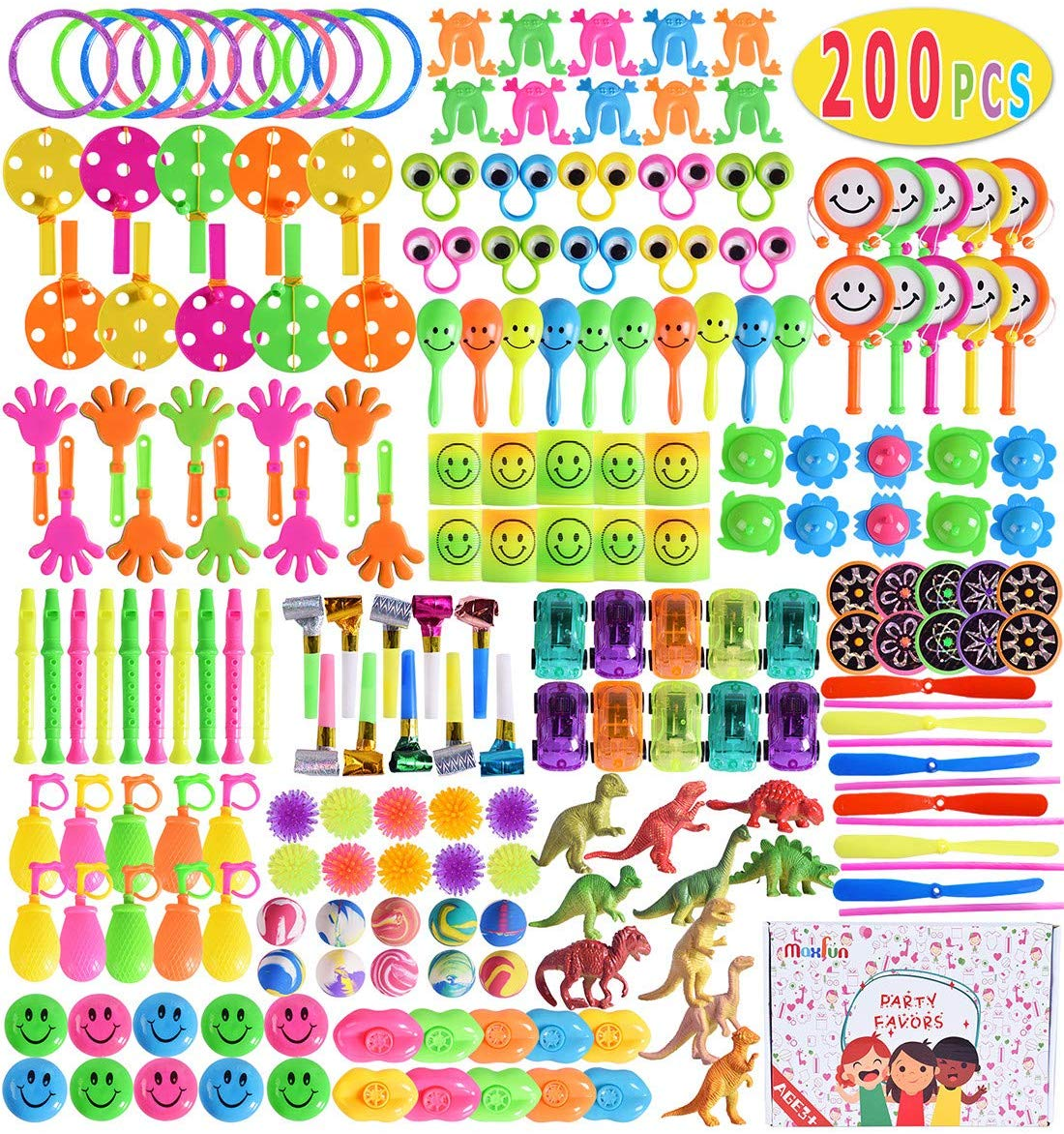 Max Fun 200Pcs Random Color Assortment Toys for Kids Birthday Party Favors Prizes Box Toy Assortment