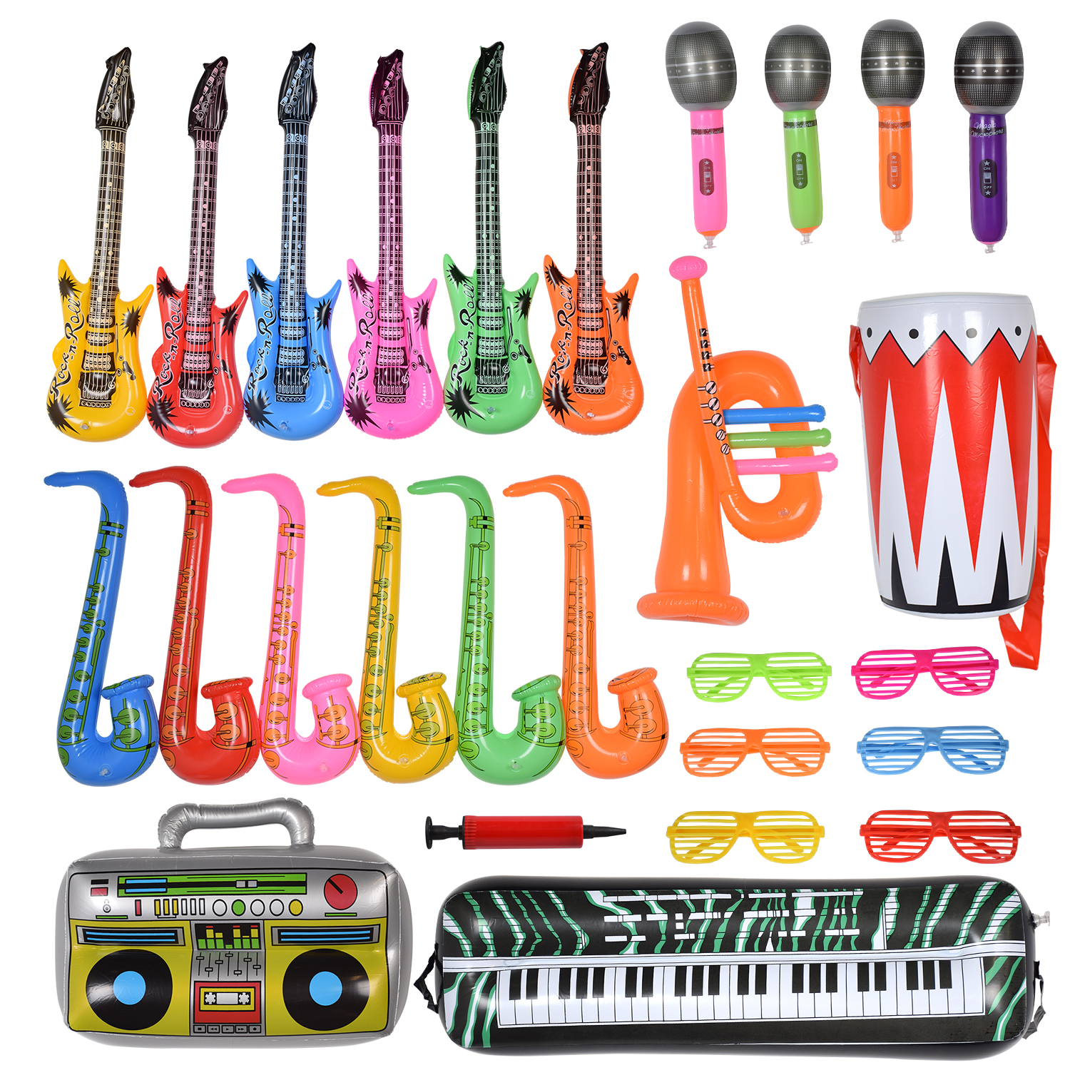 Max Fun 27PCS Random Color Inflatable Party Props Instrument Inflate Rock Band Assortment for Concer